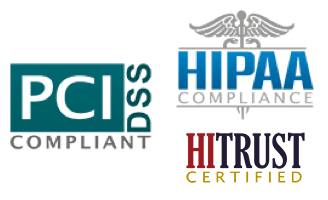Compliance Logos, HITRUST, HIPPA, and PCI